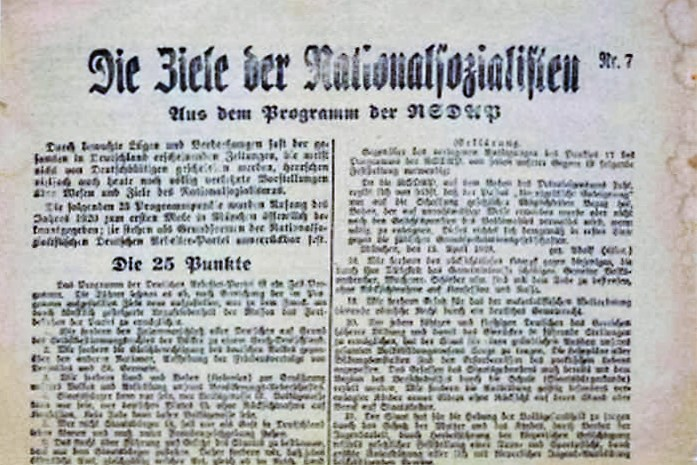 THE 25 POINTS OF HITLER'S NAZI PARTY